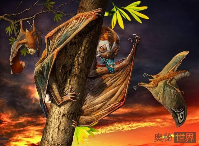 黄昏翼龙能够像蝙蝠一样倒挂在树枝上