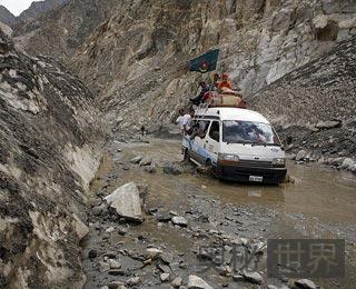 巴基斯坦和中国边界处 喀喇昆仑公路