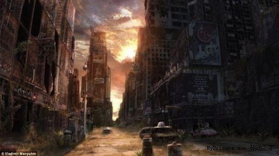 一座荒芜凄凉的城市,太阳慢慢落下,景象十分恐怖