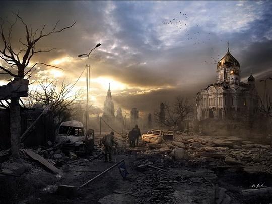 这幅作品展现了末日灾难后艰难生存的人类幸存者,让人联想到2009年灾难片《末日危途》