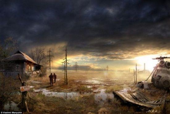 曼尤希恩描绘的末日景象,寒冷而凄凉,两名幸存者走在回家的路上