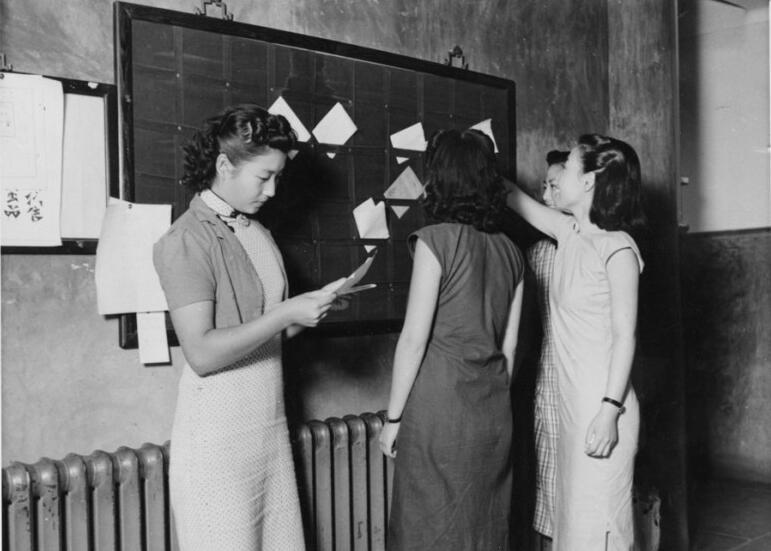 布告栏和邮件局前的女大学生。