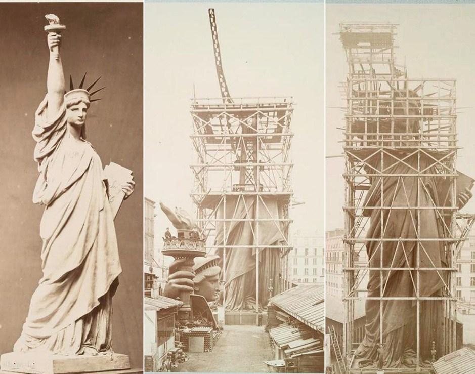 雕塑师曾制作一自由女神像的模型以展示出雕塑完成之后的样子.在运往美国前,自由女神像曾在法国先行组装