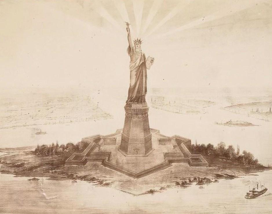 自由女神像完成于1886年,于当年10月28日在美国纽约港自由岛正式落成