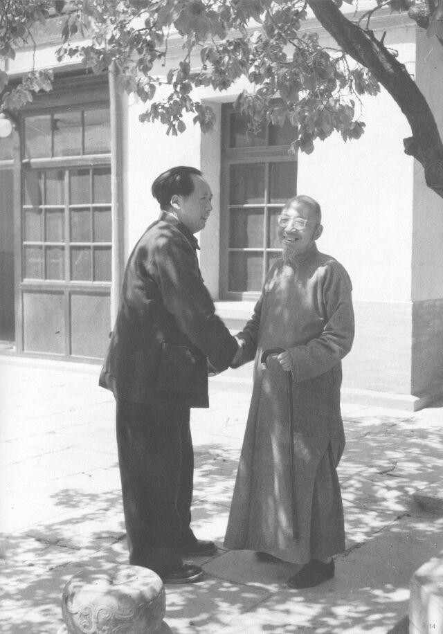 1949年,毛泽东在香山双清别墅会见柳亚子。