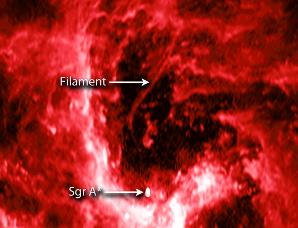 """银河系中心的巨大黑洞处有一个""""线头"""""""
